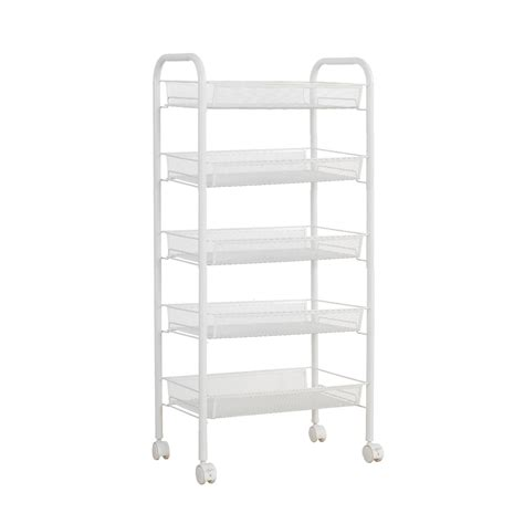 Rolling Pantry Rack by Flst White Metal Mesh Rolling Cart Storage Rack Shelves