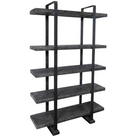 industrial style plank and steel shelf unit for sale at