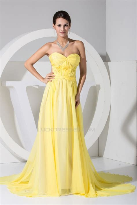 Yellow Evening Gowns Wedding by A Line Ruffles Chiffon Yellow Prom Formal Evening