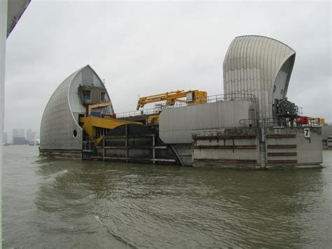 thames barrier going up narrowboat armadillo round the thames barrier