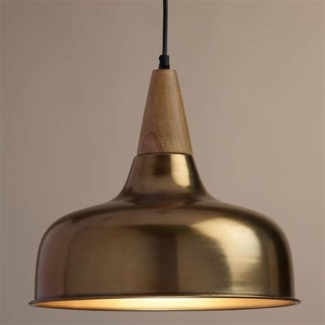 Brass Pendant Lighting Brass And Wood Glenn Pendant L World Market