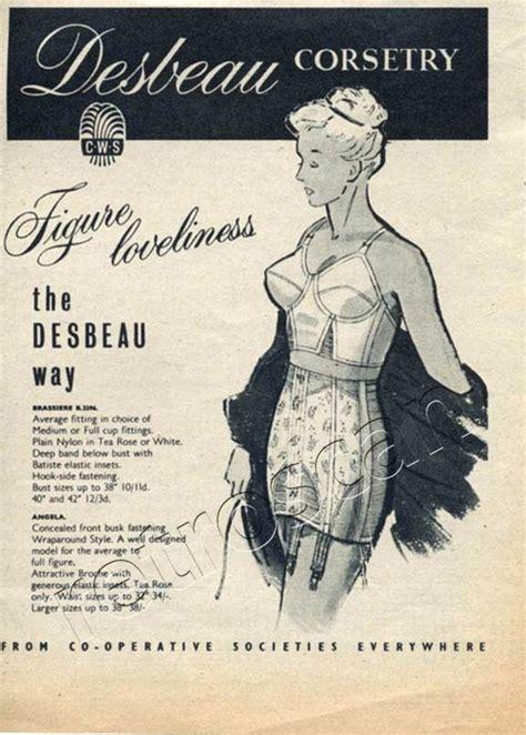 girdle fitting room 1953 desbeau corsets vintage ad retrofair