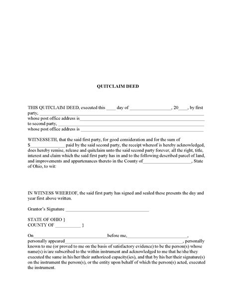 quitclaim deed template ohio quit claim deed form deed forms deed forms