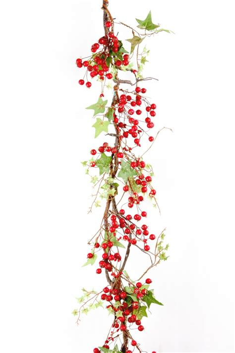red berry garland with holly leaves