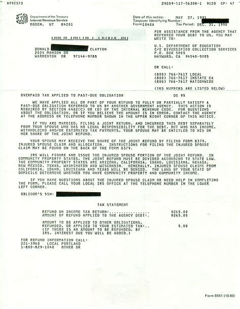 Student Finance Letter Not Received Qala Bist 187 Archive 187 Irs Notice Seizing Tax Refund May 27 1991