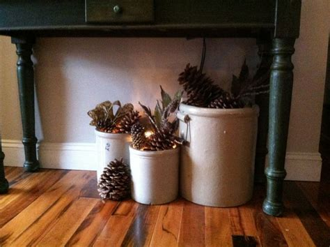 love  fill  crocks  seasonal decor pinecones