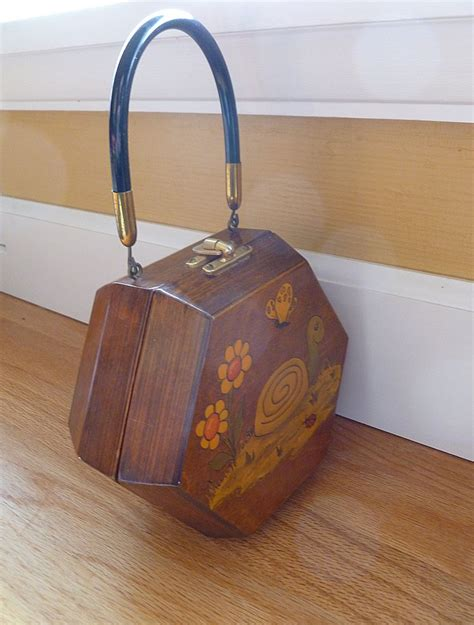 Decoupage Purse - vintage decoupage wooden handbag purse from historique on