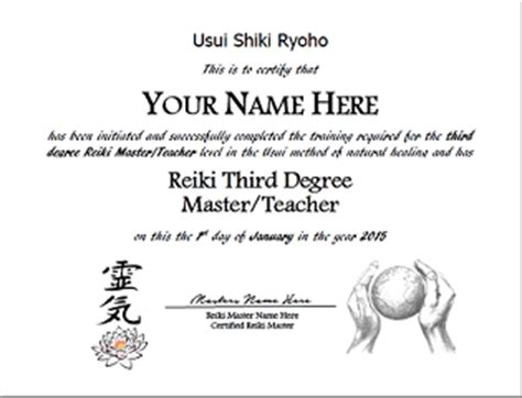 reiki certificate templates reiki i ii and master certificate templates package