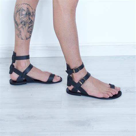 mens leather gladiator sandals mens gladiator sandals toe ring black leather ankle cuff