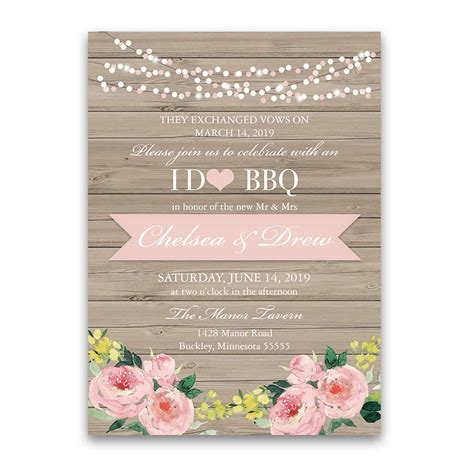 in wedding reception invitations i do bbq wedding reception only invitation blush floral