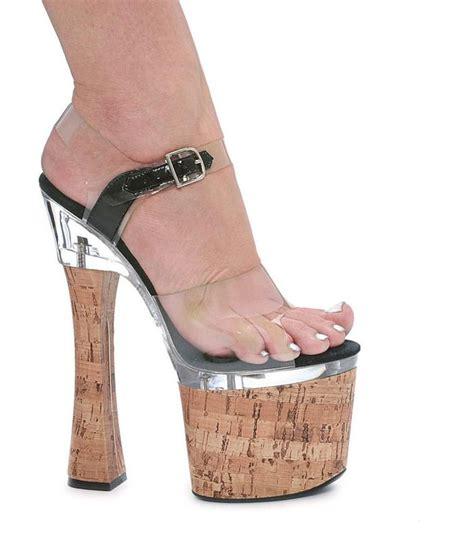 cork high heels chunky 7 5 quot high heel sandal 3 5 quot cork platform clear