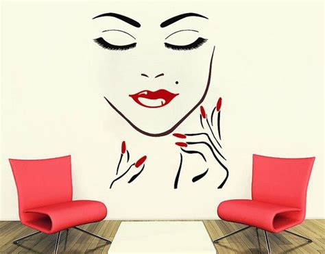Tokomonster Salon Wall Decal Sticker Size 23 wall decals salon manicure nail lashes closeup makeup decal