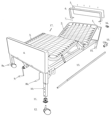 parts of the bed multi height manual hospital bed drive medical