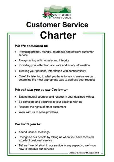 customer care charter template customer service charter wingecarribee shire council