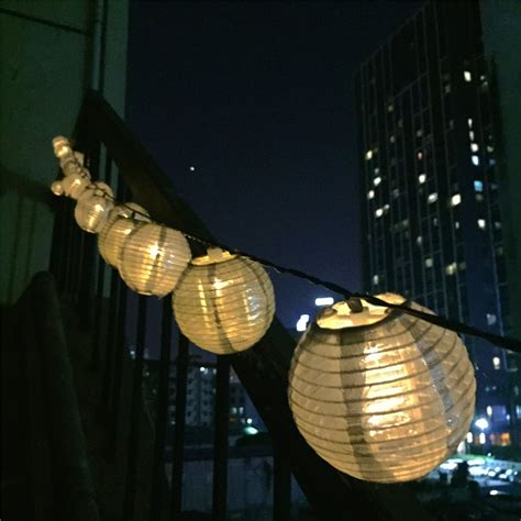 Outdoor Patio String Lights Led 18 3ft Solar Led Lantern String Lights Warm White Glow Outdoor Patio Yard Silver Ebay