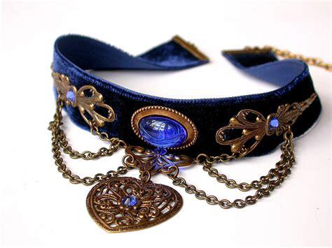 Blue Choker items similar to blue velvet choker pendant blue choker jewelry on etsy