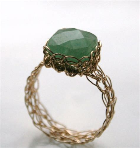 knitting ring aventurine wire knitted ring by wrappedbydesign on deviantart