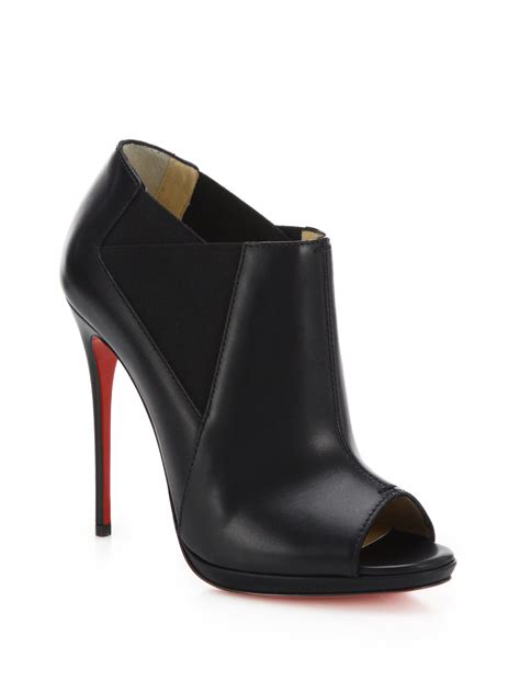 Peep Toe Booties Galore by Lyst Christian Louboutin Bootstagram Leather Peep Toe