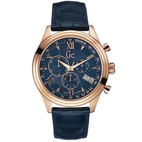 Gc Date Silver gc s gold plated navy blue leather