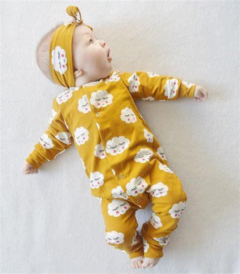 2pcs Newborn Toddler Baby Romper Jumpsuit Bodysuit Clothe yellow cloud smile infant newborn baby boys bodysuit jumpsuit heaband 2pcs