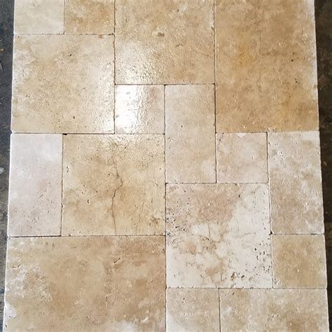 french pattern gold travertine tile french pattern mocha travertine tumbled paver travertine