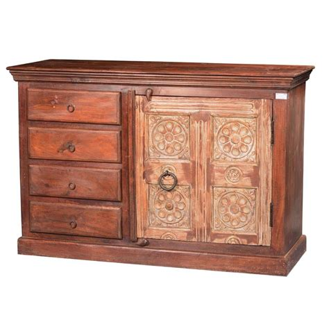 Wood Sideboard by Reclaimed Wood Handcrafted 4 Drawer Sideboard