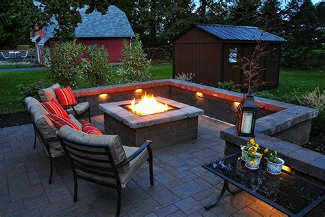 Patio Design Ideas On A Budget Lighting Furniture Design Awesome Square Fireplace Design For Outdoor Patio With Recessed Lighting Ideas And Metal Iron