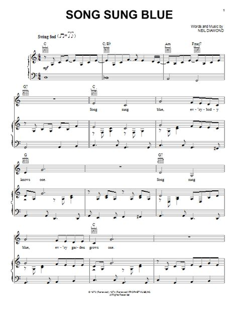 Song Sung Blue | song sung blue sheet music by neil diamond piano vocal