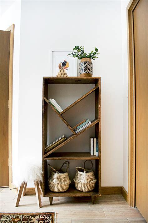 diy bookcase  angled shelves creative wall decor