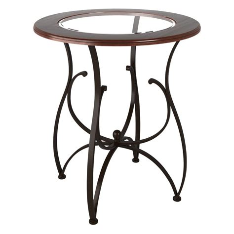glass top pub table 42 quot glass top pub table in warm stained wood djs 925 t