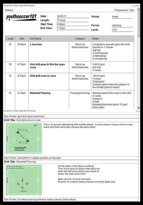 soccer lesson plan template blank soccer practice plan template images