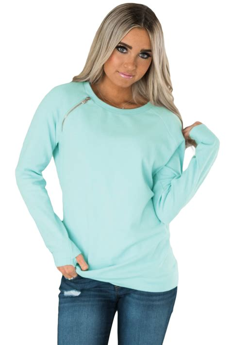 Zip Detail Pullover us 7 02 gold zip detail light blue pullover sweatshirt