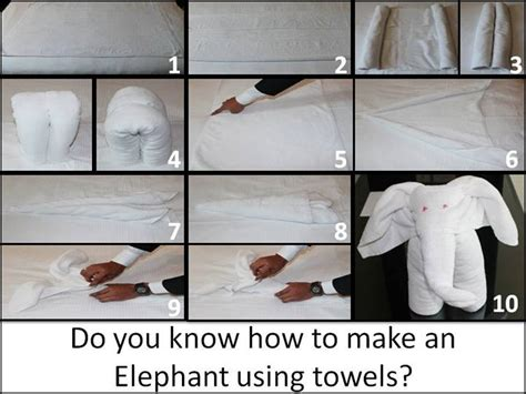 Easy Towel Origami - how to make an elephant with a towel 10 easy steps