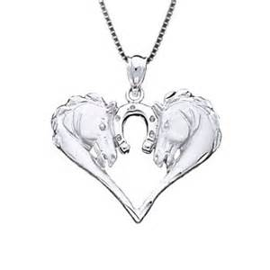 sterling silver horse heads heart necklace horse curator