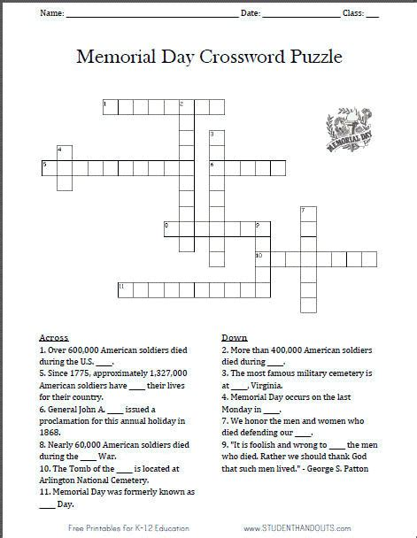 memorial day printable activity sheets free printable memorial day crossword puzzle worksheet