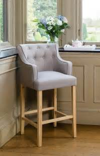 grey upholstered button breakfast bar stool wooden oak