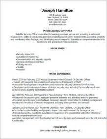 Officer Resumes by Professional Security Officer Resume Templates To Showcase Your Talent Myperfectresume