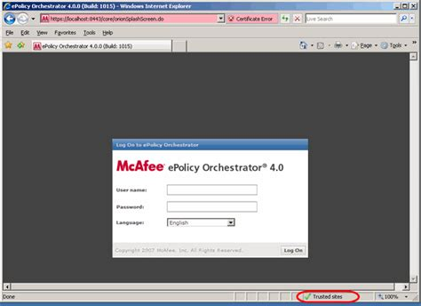 certificate error with epo 4 0 console ie7 mcafee community