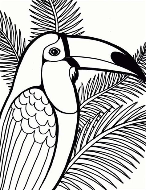 parrot on coconut tree coloring page mosaic templates