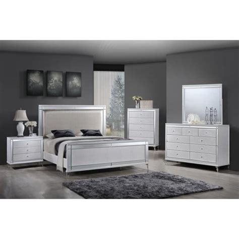 shop  quality furniture metallic white  piece glam bedroom set  shipping today