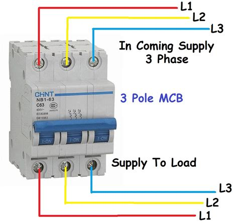 3 phase circuit breaker diagram for 3 pole mcb mccb