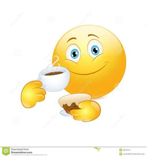 smiley kuchen trinkender kaffee des emoticon mit kuchen vektor abbildung