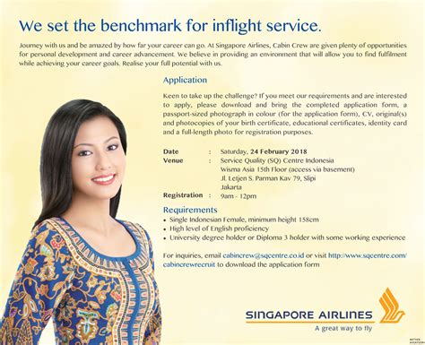 airlines recruiting cabin crew singapore airlines cabin crew recruitment jakarta