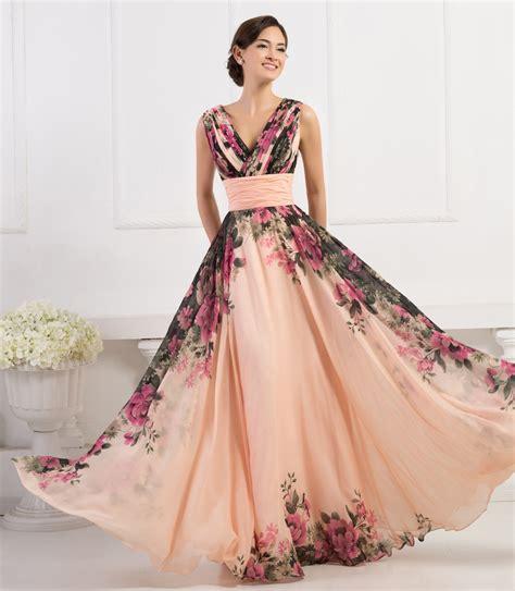 Gk Deep V neck Flower Pattern Chiffon Long Floral Evening Dresses Cl7502   Buy Floral Evening