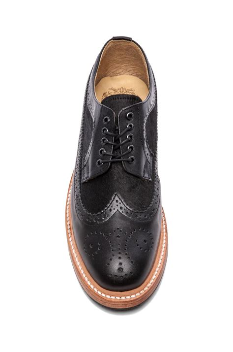 caminando wingtip shoes with haircalf in black for