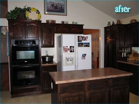 staining kitchen cabinets darker before and after 17 best images about oak cabinet transformation on