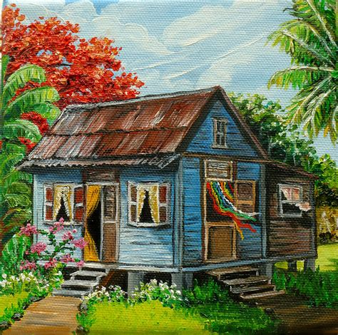 painting of house blue caribbean house by karin best caribbean paintings and artwork