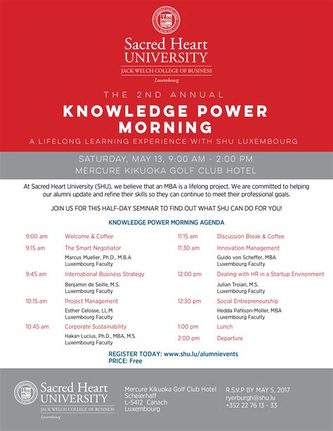 Sacred Mba Courses by Shu Knowledge Power Morning May 13 Sacred