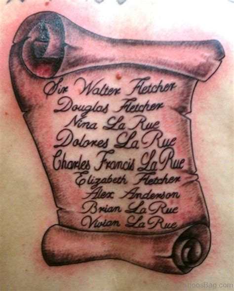 scroll tattoos designs with names 30 scroll tattoos on back
