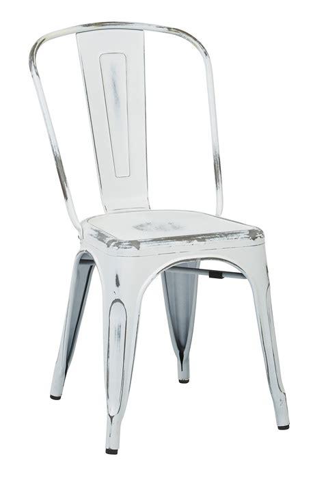 vintage metal dining chair distressed white